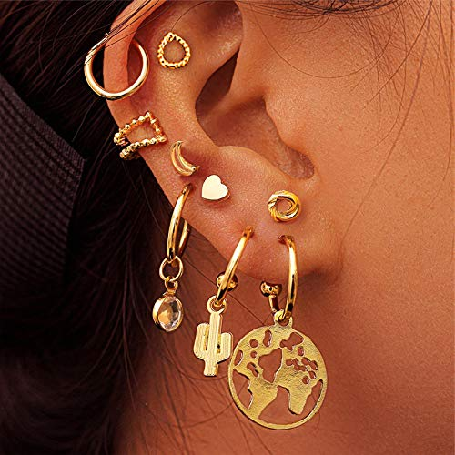N/A Conjunto de Pendientes de Gota de Metal Dorado para Mujer Ojos geométricos Luna Estrella Plumas Pendientes Femeninos Joyería de Moda HDES02-2