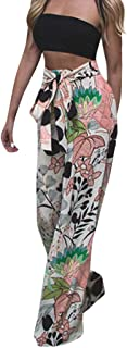 SNOWSONG Women's Floral Printed Drawstring High Waisted Wide Leg Paperbag Flare Casual Pants