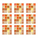RAILONCH 30 adhesivos para azulejos de PVC, mosaico, autoadhesivos, resistentes al agua, para cocina, baño (naranja amarillo)