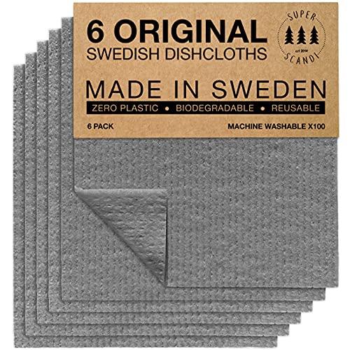 Superscandi Schweden-Geschirrtücher, (6 Stück Grau) Umweltfreundlich, Wiederverwendbar, Nachhal