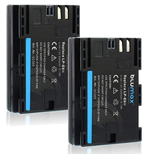 Blumax 2X Akku ersetzt Canon LP-E6N LPE6N (echte 2040mAh) mit Infochip - kompatibel mit XC10 XC15 EOS-R EOS 60D 70D 80D 5D Mark I Mark II Mark III IV 6D Mark I II 7D Mark I II