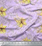 Soimoi Lila Schweres Canvas Stoff Blätter & Blumen