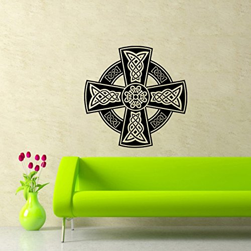 Celtic Cross Wall Decal Celtic Cross Decals Wall Vinyl Sticker Home Interior Wall Decor for Any Room Housewares Mural Design Graphic Bedroom Wall Decal Bathroom (5898)
