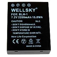 WELLSKY BLH-1 互換バッテリー 2200mAh [ 純正充電器で充電可能 残量表示可能 純正品と同じよう使用可能 ] オリンパス 一眼レフ OM-D E-M1 Mark II E-M1 Mark III