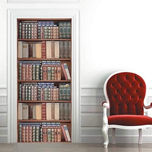 Papel Pintado Puerta Estantería Para Libros Diy PVC Autoadhesiva Door Sticker Wallpaper Poster Art Decoration 95 x 215 cm