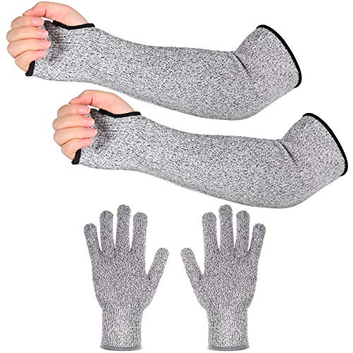 2 Pairs Cut Resistant Gloves Protective Arm Sleeves Safety Arm Guard (Gray)
