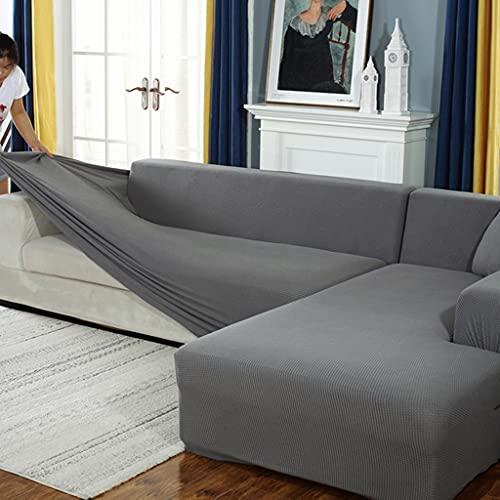 VEAI Sofabezug Couchbezug L Form, Sofahusse ecksofa Stretch Sofa überzug für 1/2/3/4 Sitzer(L-förmiges Ecksofa erfordert Zwei) (Color : A, Size : 2-Sitzer (145-185 cm))
