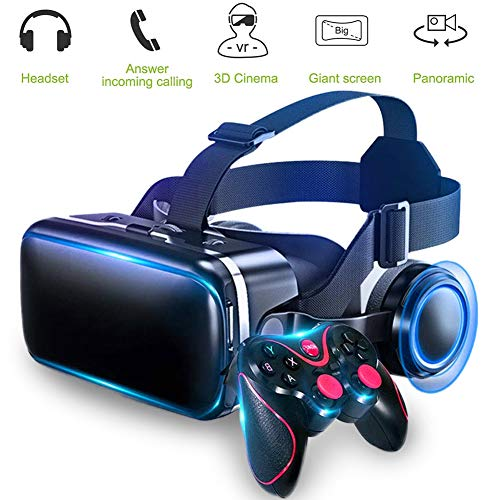 HUA JIE HD VR Headset, 3D Eyewear, Soft & Comfortable New 3D VR Glasses with Ios Android, Universal Virtual Reality Goggles Best Mobile Games 360 Movies W/eye Protection, Gamepad