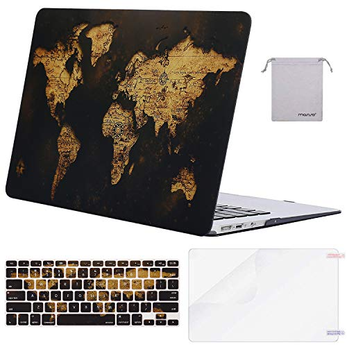 MOSISO MacBook Air 13 inch Case(A1369 A1466, Older Version 2010-2017 Release),Plastic Pattern Hard Case&Keyboard Cover&Screen Protector&Storage Bag Compatible with MacBook Air 13, Gold World Map
