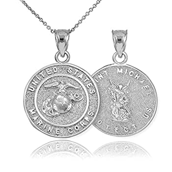 Sterling Silver St Michael Medal Protection Charm US Marine Corps Reversible Pendant Necklace 16