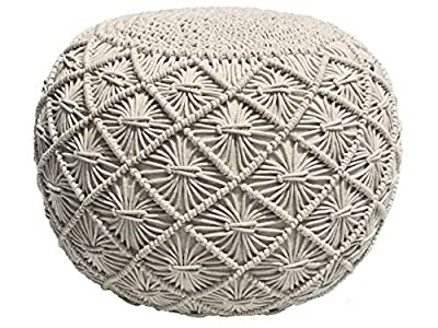 Casa Platino Pouf Ottoman Hand Knitted Cable Style Dori Pouf - Macramé Pouf - Floor Ottoman - Cotton Braid Cord - Handmade & Hand Stitched - Truly One of A Kind Seating - 20 Dia X 14 Height Natural