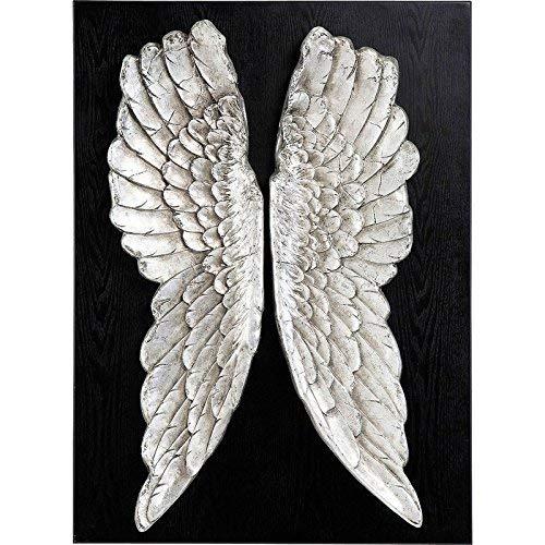 Kare Wandschmuck Wings, 32820, Moderne, große Wanddekoration Engelsflügel im Vintage Design, Silber (H/B/T) 110x80x13cm