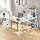 Tribesigns 59 Inch L Shaped Computer Desk, Corner Desk with 4-Tier Storage Shelves, Rustic L-Shaped Desk with Bookshelves for Home Office, Writing Study Workstation PC Gaming Table L Desk (White)