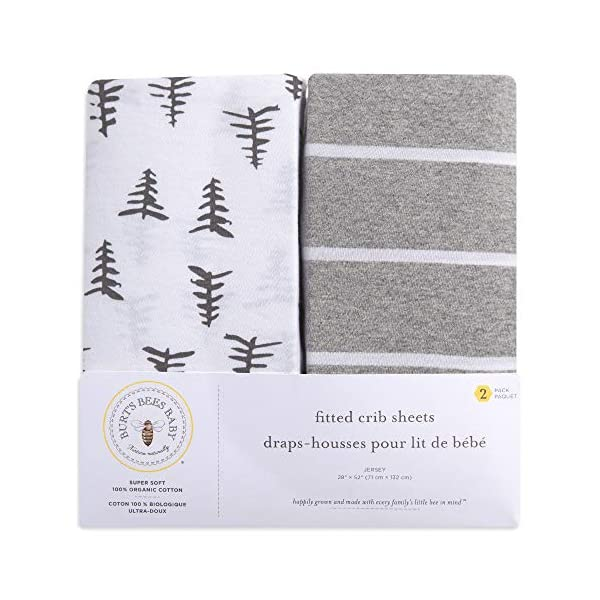 Burt's Bees Baby – Fitted Crib Sheets, 2-Pack, Boys & Unisex 100% Organic Cotton Crib Sheet for Standard Crib and Toddler Mattresses (Pine Forest)