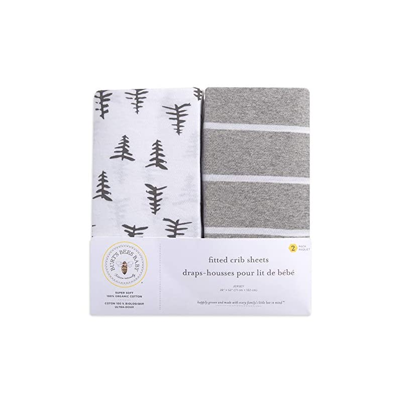 crib bedding and baby bedding burt's bees baby - fitted crib sheets, 2-pack, boys & unisex 100% organic cotton crib sheet for standard crib and toddler mattresses (pine forest)