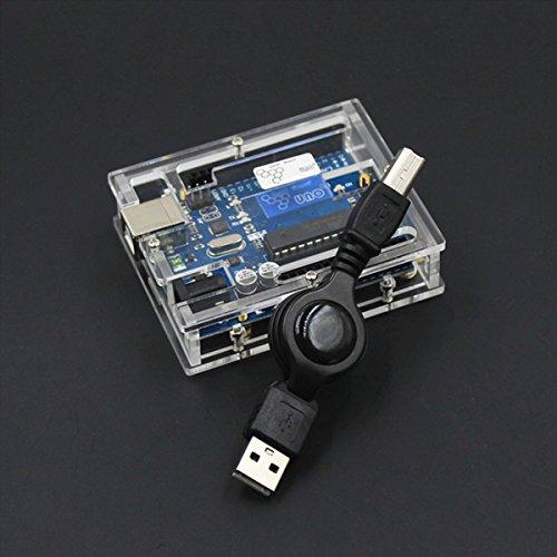 Scheda di sviluppo ATMEGA328 UNO R3 con custodia protettiva per Arduino - Blu + Diafano Development board