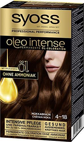 Syoss Oleo Intense Permanente Öl-Coloration 4-18 Mokkabraun, mit pflegendem Öl & ohne Ammoniak, 3er Pack(3 x 115 ml) SL418