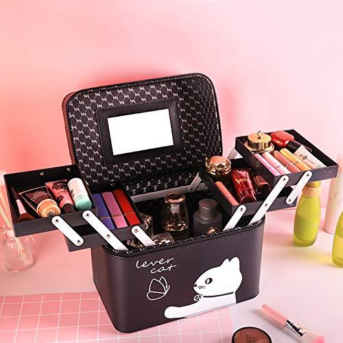 Kosmetisk LT bärbar förvaringsbox fyra öppna sminkväska anime tecknad flicka hjärta stor kapacitet multifunktionell fyrkantig bärbar låda Black White Cat