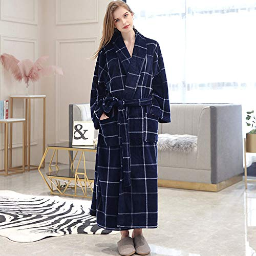 YRTHOR Ropa de dormir para hombre, mujer, de invierno, a cuadros, talla grande, larga de franela, 40 a 130 kg, bata de baño cálida, bata de kimono, bata para mujer, color blanco, L