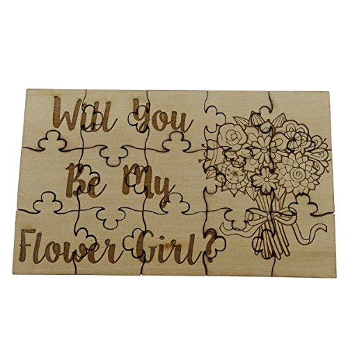 Will You Be My Flower Girl - 15 Piece Basswood Jigsaw Puzzle - Wedding Bridal Party