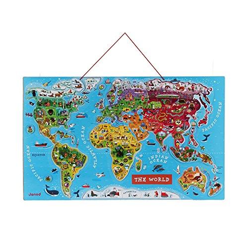 JANOD [ ジャノー ] Magnet-Puzzle Weltkarte Englisch ワールドマップ 英語教材 知育玩具 パズル J05504 ...
