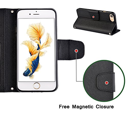 iPhone 7 Leather Case with Carrying Strap, Premium Durable Scratch-resistant Saffiano Cover with Inner TPU Bumper, Card Slot Wallet, Magnetic Closure, Easily Stand for Video Watching (Black)