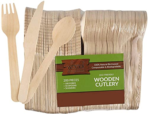Disposable Wooden Cutlery Sets - 200 Piece Total: 100 Forks, 50 Spoons, 50 Knives, 6' Length Eco Friendly Biodegradable Compostable Wooden Utensils Wooden Cutlery
