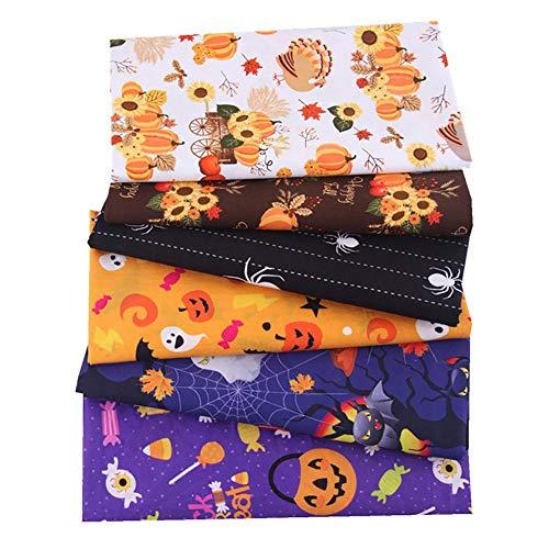 Easy-topbuy Telas De Algodón De Estampada De Halloween, Fantasma Calabaza Telas para Manualidades Tela De Patchwork para Juguetes, Regalos, 25x25cm / 50x50cm