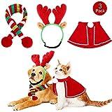 Meraviglioso regalo di Natale per il tuo animale domestico: otterrai una corna di renna, un mantello di Natale rosso e bianco e una sciarpa a strisce rosse, bianche e verdi; Questo è l'ottimo regalo di Natale per il tuo animale domestico per scattare...