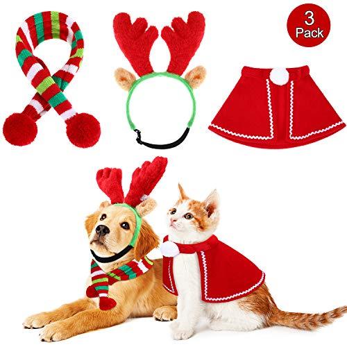 Weihnachten Rentier Geweih mit Ohren, Grün Gestreiften Schal Set und Mantel Hund Weihnachten Kostüm Zubehör, für Hunde Hündchen Katzen Haustier