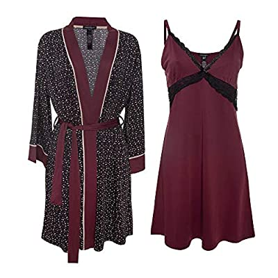 Nanette Lepore 2 Piece Womens Chemise with Robe - Nightgown and Robe Travel Pajama Set Onyx Small
