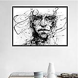 NR Línea Simple en Blanco y Negro Pintura en Lienzo Personajes Abstractos Carteles Inicio Arte de la...