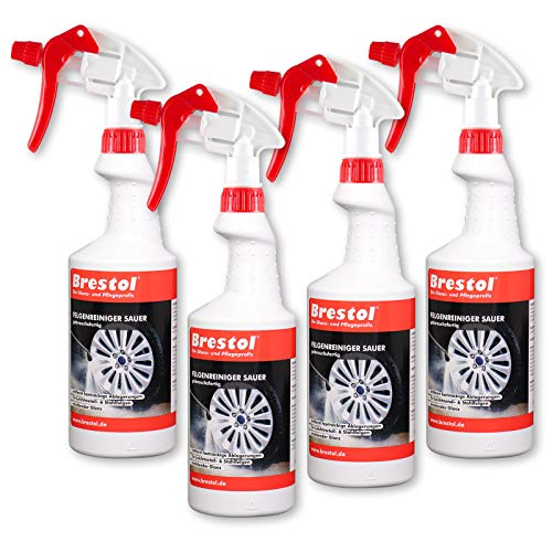 Brestol Lot de 4 nettoyants acides pour jantes en aluminium, jantes en acier, jantes de voiture, entretien des jantes, dépoussiérant de frein - 750 ml