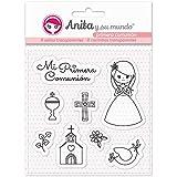 Anita y Su Mundo Primera Comunión Niña Sellos, Rosa, 16,7x12cm, 8