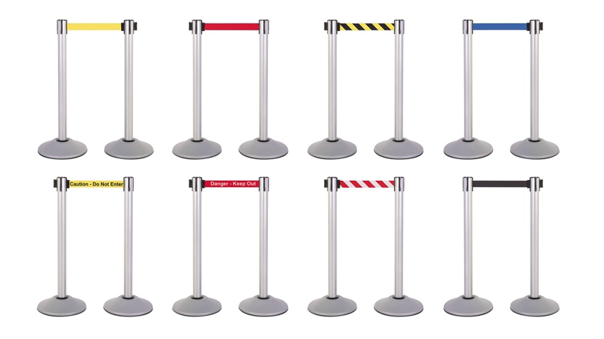 Almencla 5 Feet Barrier Rope Crowd Control Stanchion Queue Velvet Rope with Silver Mirror Polished Hooks 6 Colors for Choose Blue