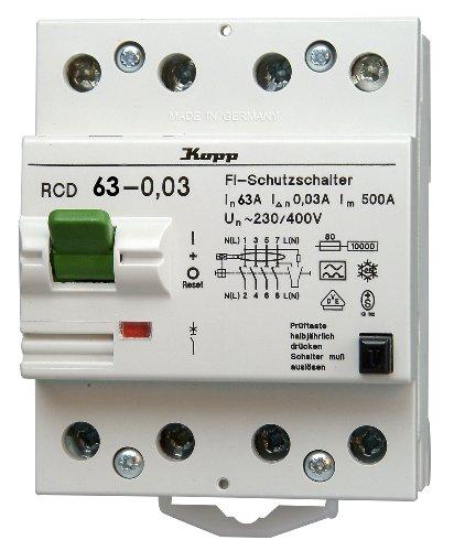 Kopp 756348014 Green Electric Fehlerstromschutzschalter RCD, 63A, 30mA, 4-polig