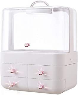 HZBXL Dustproof Cosmetic Storage Box Desktop Lipstick Skin Care Household Storage Box Large Dressing Table Rack (Color : Pink)