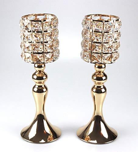 Bador Set di 2 portacandele di design con cristalli di gioiello, altezza totale ca. 32 cm in oro