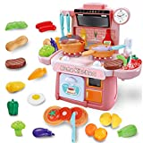 GILOBABY Kitchen Toy Set for Kids Toddlers Cooking Toys with Realistic Light, Sound and Running...