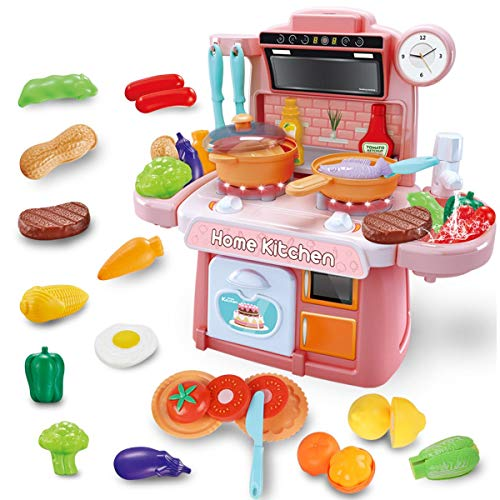 GILOBABY Kitchen Toy Set for Kids Toddlers Cooking Toys with Realistic Light, Sound and Running Water, Chef Pretend Play Food Assortment Set Role Play Educational Toy for Girls and Boys