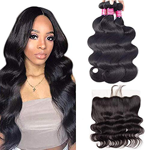 ULOVE HAIR Brazilian Virgin Hair Body Wave 3 Bundles with Frontal Natural Color 100% Unprocessed Human Hair Extensions with 13x4 Frontal Lace Closure (20 22 24+18'Frontal)