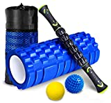 [page_title]-HBselect Faszienrolle Set Wirbelsäule Foam Roller Massagerollen Duoball Massagestäbchen Massageball (4 in 1 Blau)