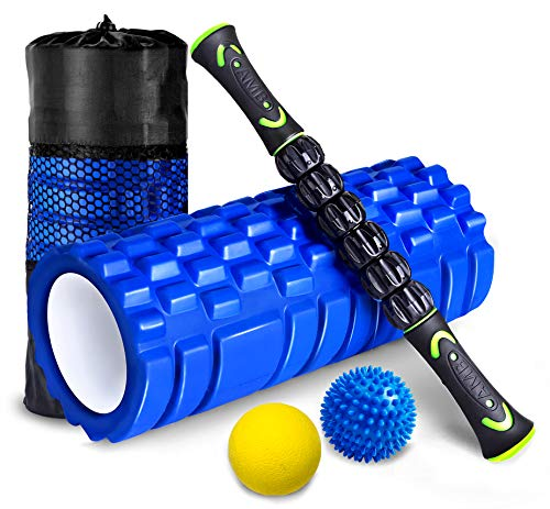 HBselect Faszienrolle Set Wirbelsäule Foam Roller Massagerollen Duoball Massagestäbchen Massageball (4 in 1 Blau)