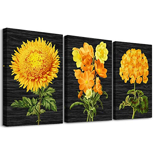 Wall Art Paintings for Living Room sunflower Canvas Print Wall Artworks Bedroom Decoration,3 Panels office kitchen bathroom Wall decor black background Yellow flowers plant Pictures Home Decorations