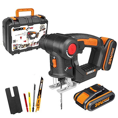 Worx WX550.1 Seghetto Combinato 2 in 1 Seghetto Alternativo e a Gattuccio, 2 Batterie 20V