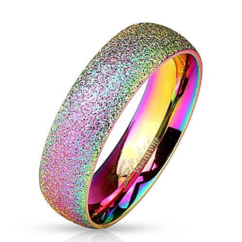Paula & Fritz Sand Glitzer 6mm breit Damen-ring Verlobungs-ring Freundschaftsring Herrenring Partnerring Edelstahl Chirurgenstahl 316L regenbogen 60 (19)