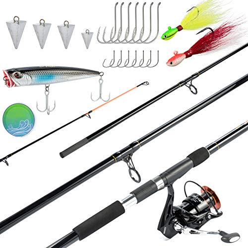 Dr.Fish Surf Fishing Rod and Reel Combo 12ft Surf Rod 9000 Saltwater Spinning Reel 9+1 BB, 35LB Drag, Topwater Popper Pyramid Weights Bucktail Jigs