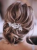 Gorais Bride Wedding Hair Vine Silver Pearl Bridal Headpieces Leaf Hair Accessories for Women and Girls (Silver-A)