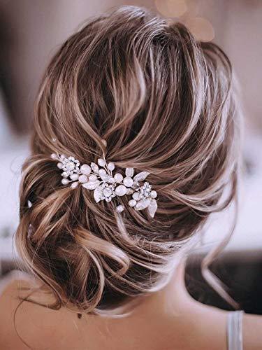 Gorais Bride Wedding Hair Vine Silver Pearl Bridal Headpieces Leaf Hair Accessories for Women and...