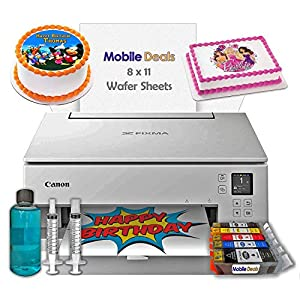 Mobile Deals Tasty Treats and Birthday Cake Topper Image Printer Bundle - Includes Canon Wireless Printer (White), Cake Ink Cartridges, Wafer Paper and Print-Head Cleaning Kit